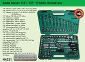 """sada hlavic 1/4"""",3/8"""",1/2"""" a očkoplochých klíčů HONIDRIVER 111 dílů H4321"""